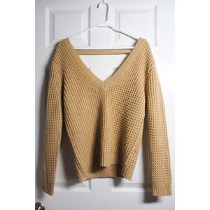 Camel Knit Sweater with Triangle Cutout